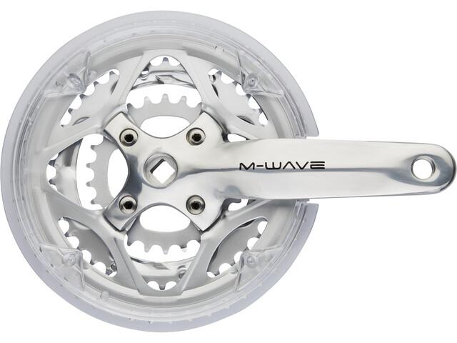 M-Wave Crankset 3 velocità 48-38-26 denti con disco di protezione, silver